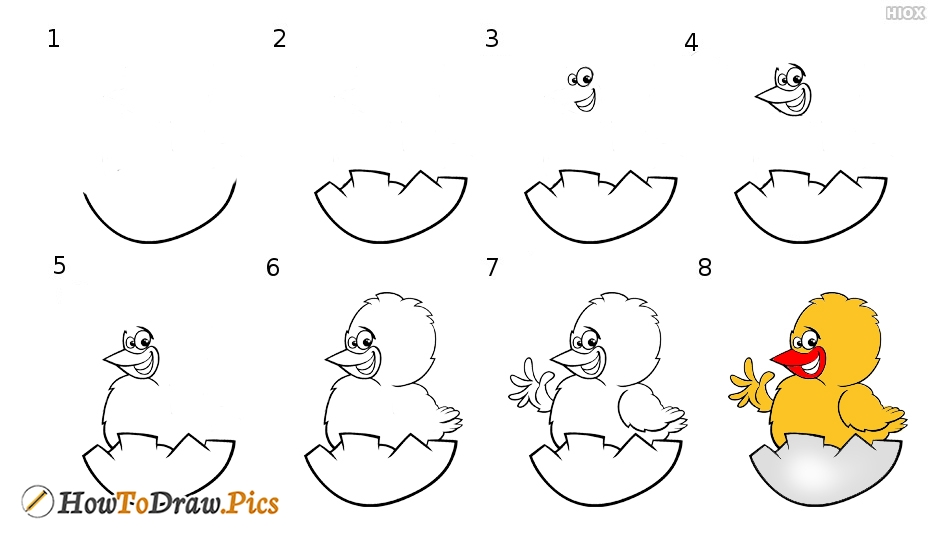 How To Draw Cute Chicken Hatching From Egg