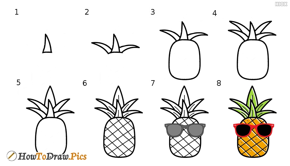 How To Draw Cartoon Pineapple Step by Step Pictures