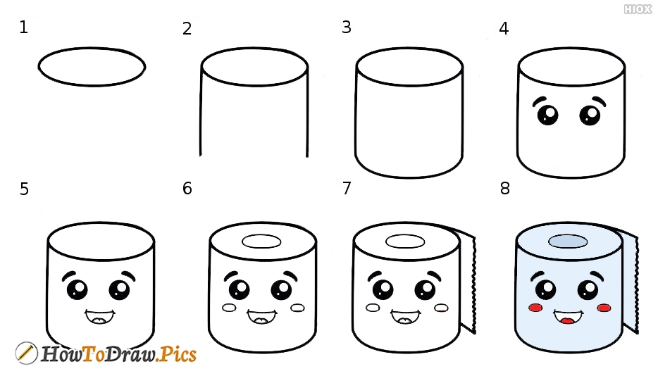 How To Draw Cute Tissue Roll