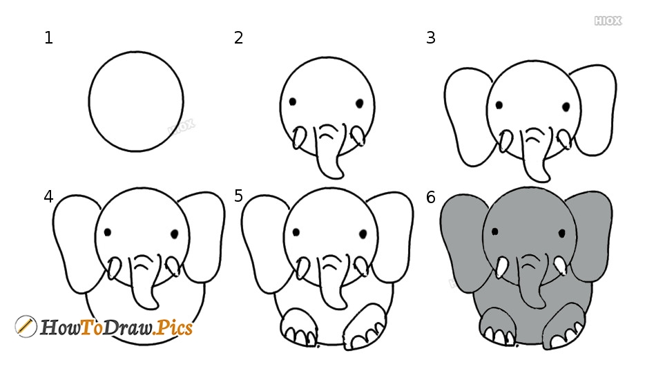 Elephant Outline Drawing Step By Step