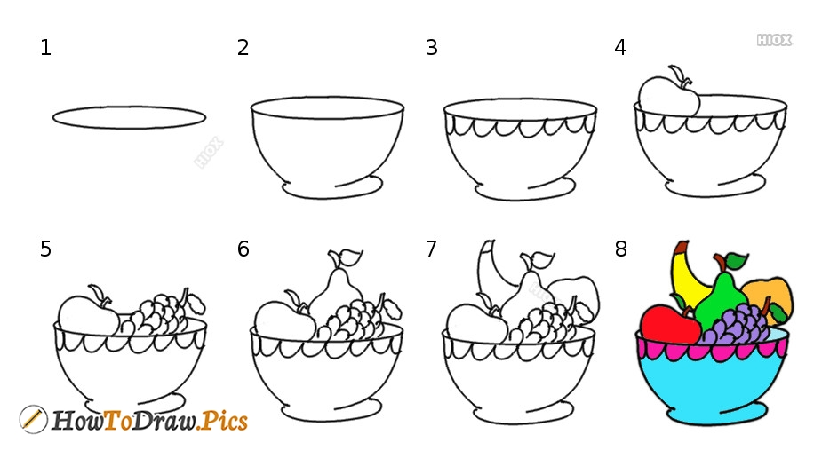 Fruit Basket Drawing Step By Step