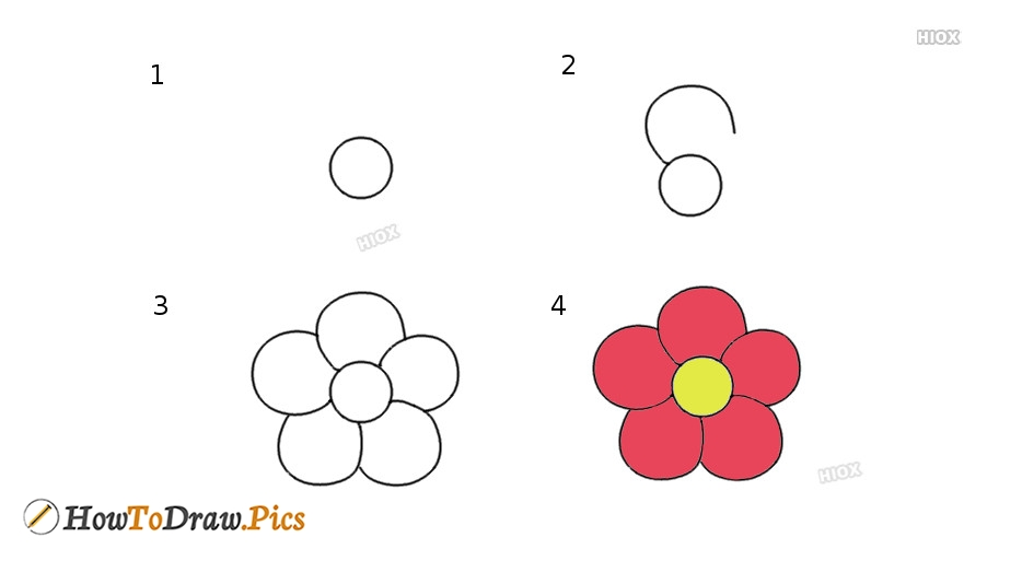 How To Draw A 5 Petal Flower