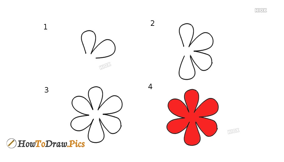 How To Draw A 6 Petal Flower