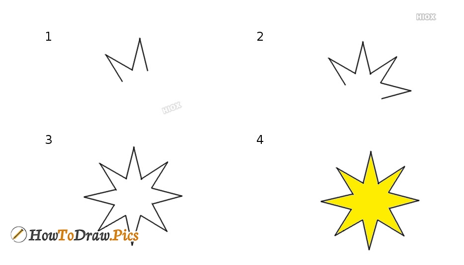how to draw 8 sided star images