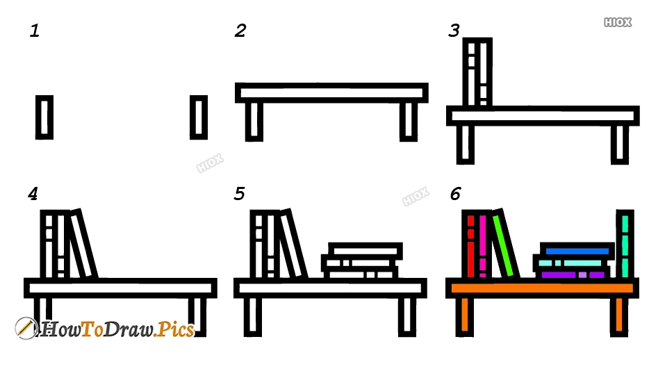 How To Draw A Book Case Step By Step Images