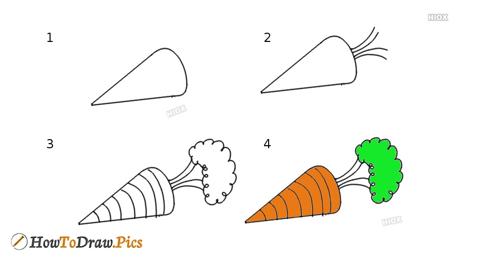 How To Draw A Carrot For Kids