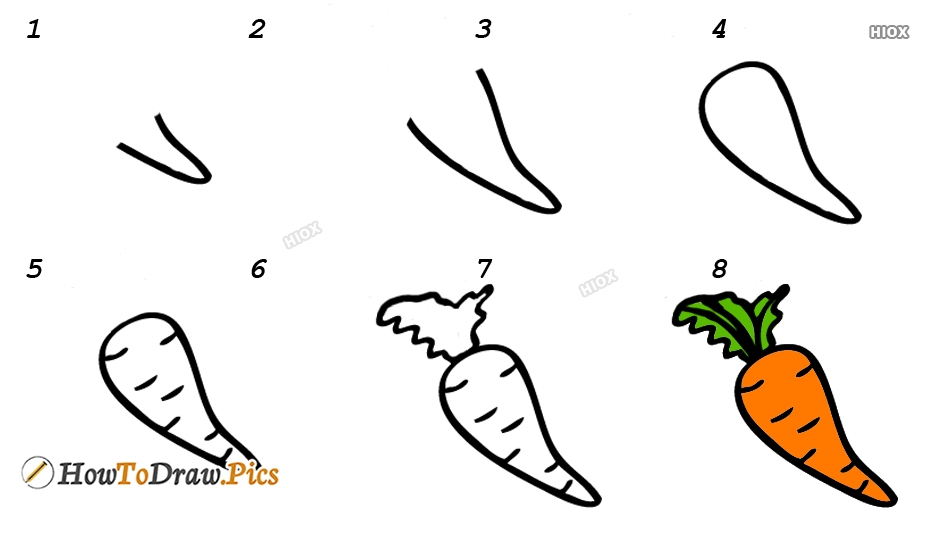 How To Draw A Carrot Easy