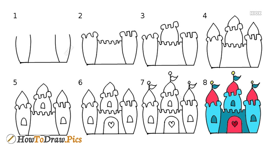 How To Draw Castle Step by Step Pictures