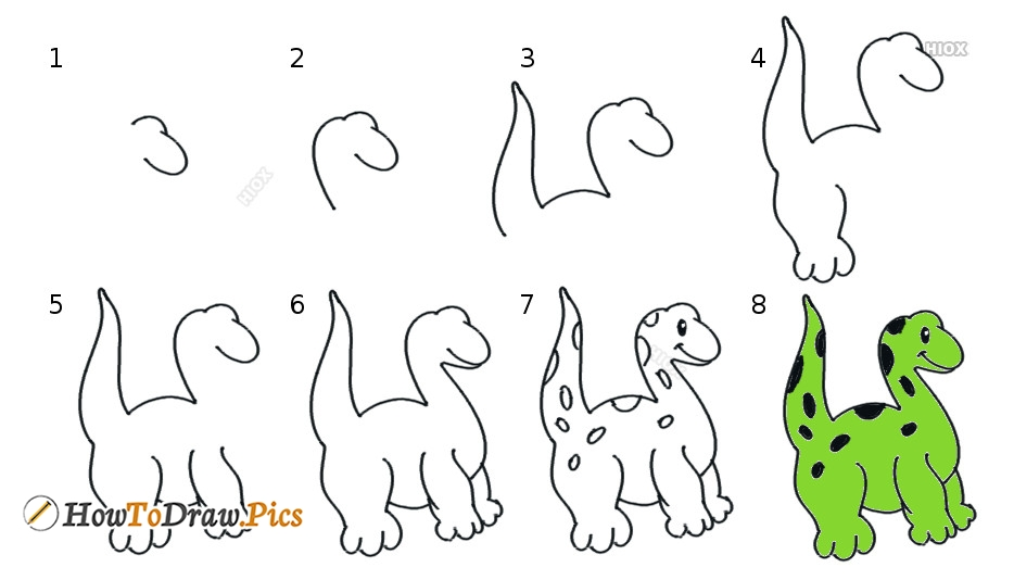 How To Draw A Dinosaur Step By Step Images