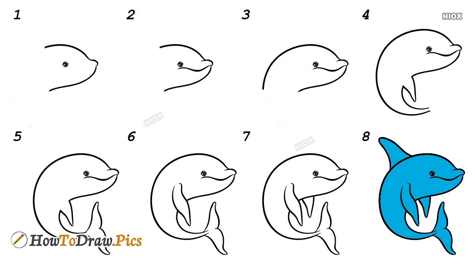 How To Draw A Dolphin In The Water