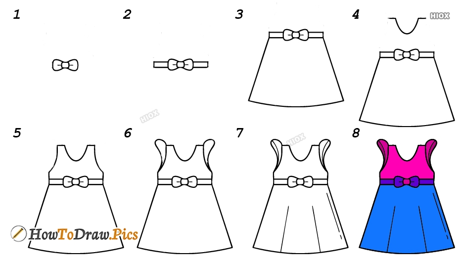 How To Draw A Girl Dress Step By Step Images