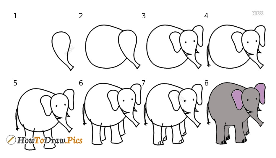 Elephant Drawing Instructions | Step By Step Elephant Drawing Tutorial