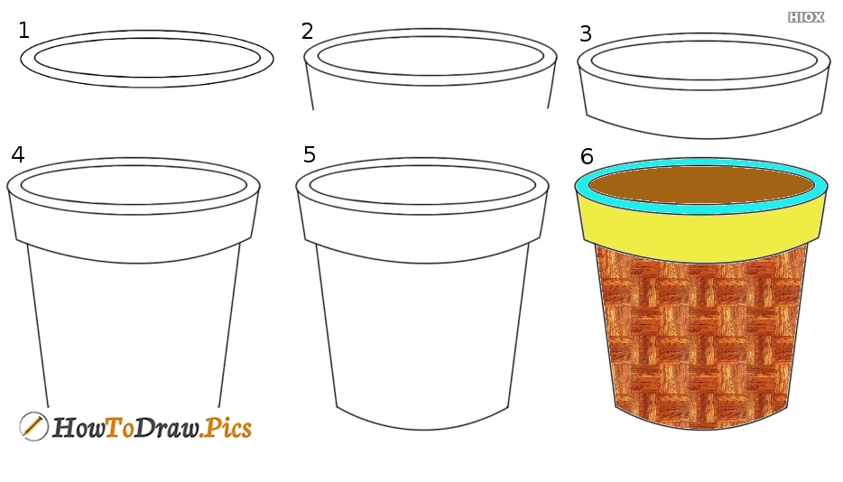 How To Draw A Flower Pot Step By Step Images