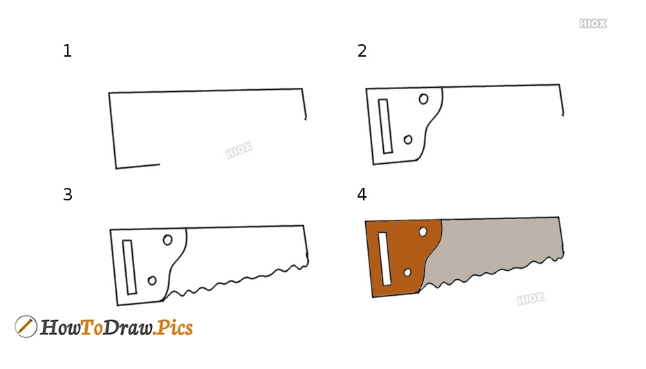 How To Draw Handsaws Step by Step Pictures