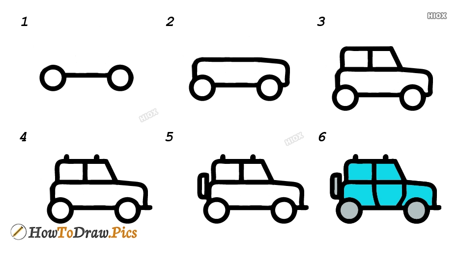 How To Draw Four Wheeler Step by Step Pictures