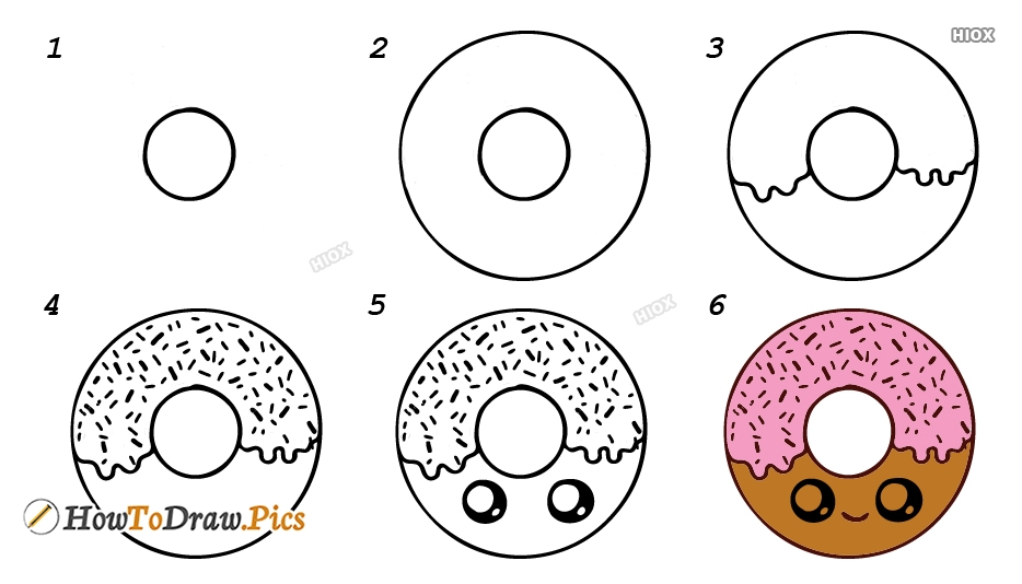 How To Draw Donut Step By Step Images