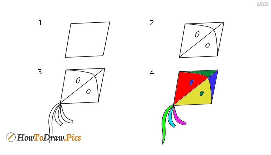 How To Draw Kite Step by Step Pictures