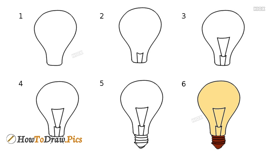 How To Draw Light Bulb Step by Step Pictures