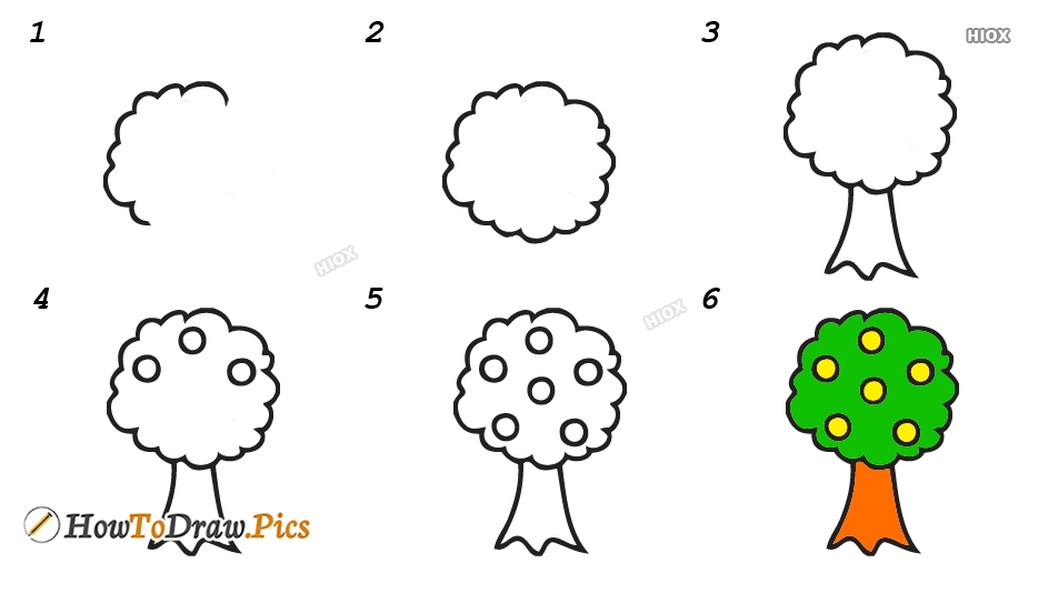 How To Draw A Mango Tree | Step By Step Easy Drawing