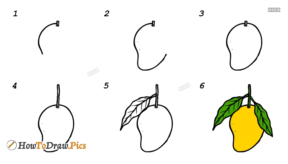 How To Draw A Mango Step By Step For Kids