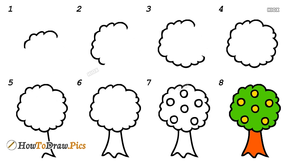How To Draw Tree Step by Step Pictures