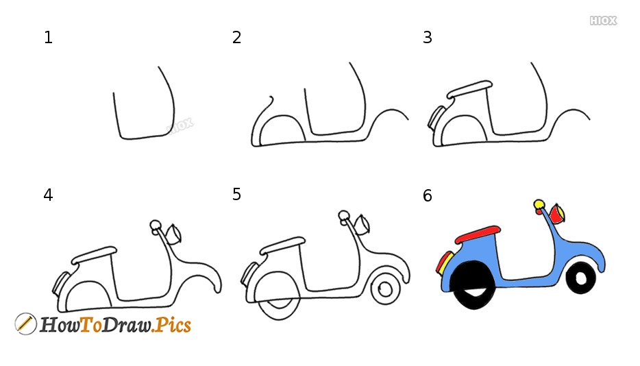 How To Draw A Cycle Step By Step Pictures