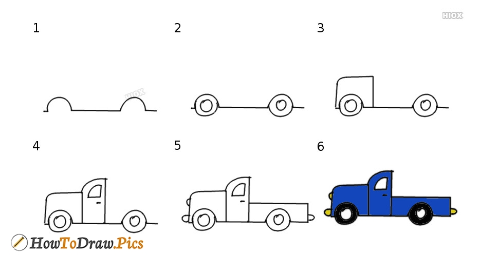 Simple Step By Step How To Draw Image Of Pickup Truck