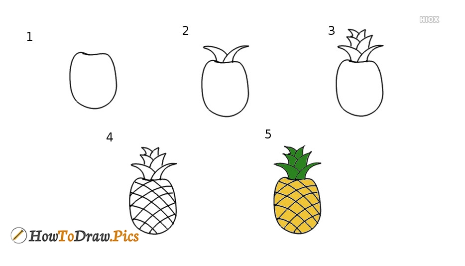 How To Draw Pineapple Step by Step Pictures