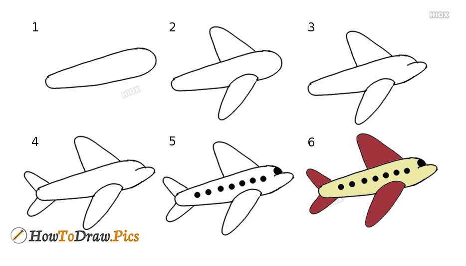 How To Draw Plane Step by Step Pictures