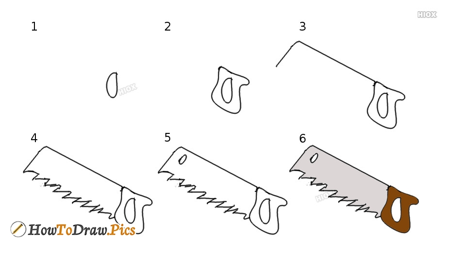 How To Draw A Saw For Kids