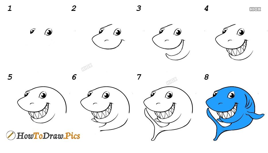 How To Draw A Shark Cartoon