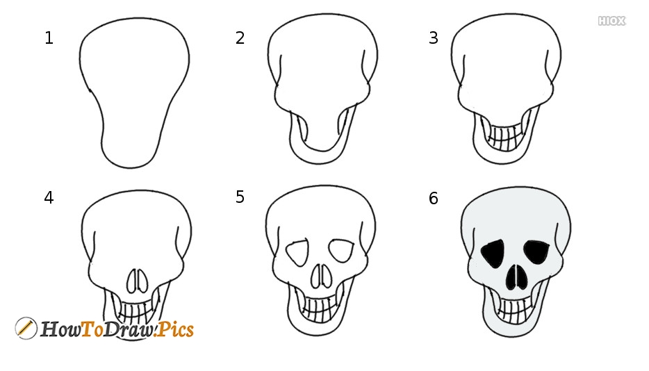 How to draw skull step by step pictures