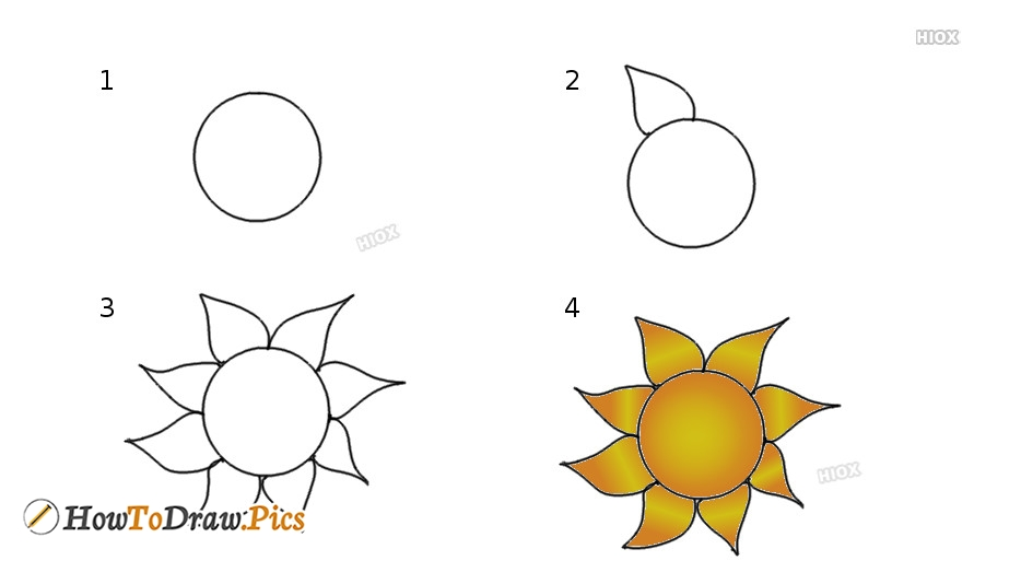 How To Draw Sun Step by Step Pictures