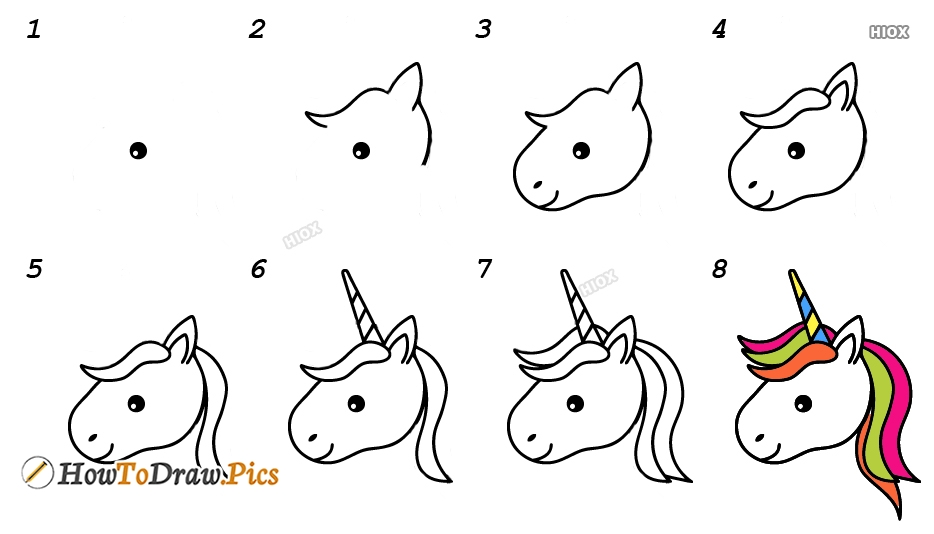 How To Draw A Simple Unicorn Head Step By Step Images