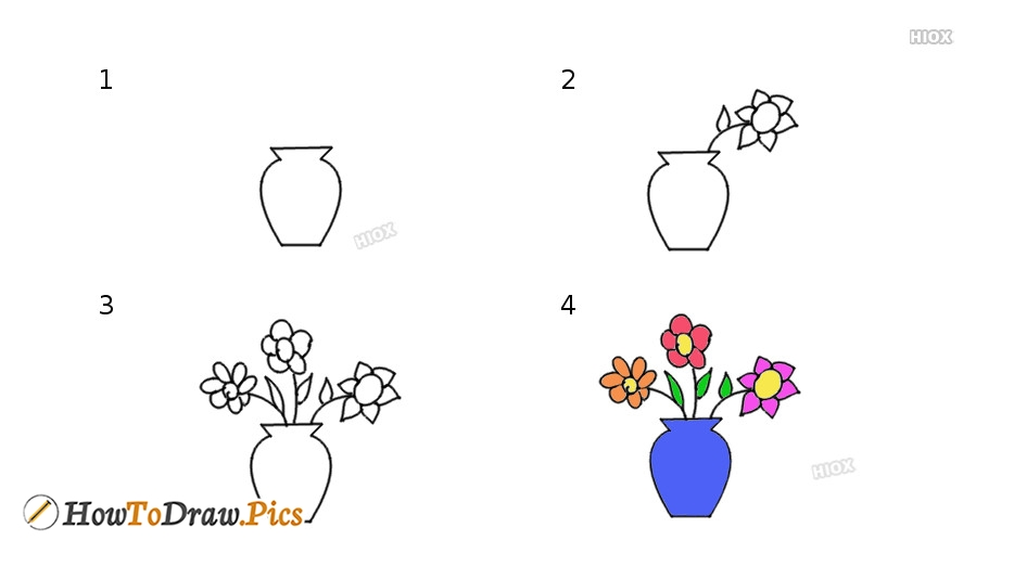 How To Draw Flower Pot Pictures Flower Pot Step By Step Drawing