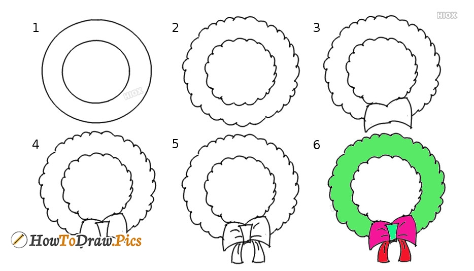 How To Draw Wreath Step by Step Pictures
