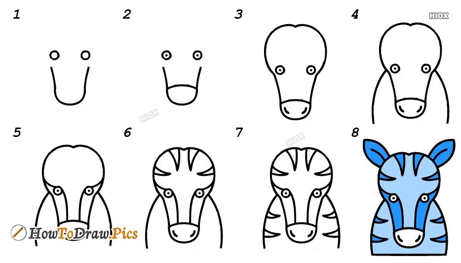 How To Draw A Zebra Head Step By Step