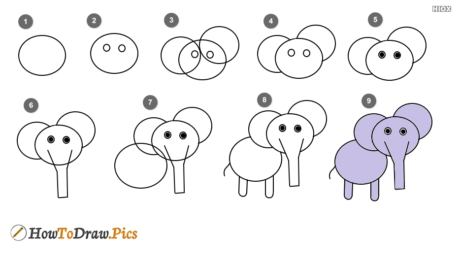 How to draw elephant? Step by step drawing lesson with pictures
