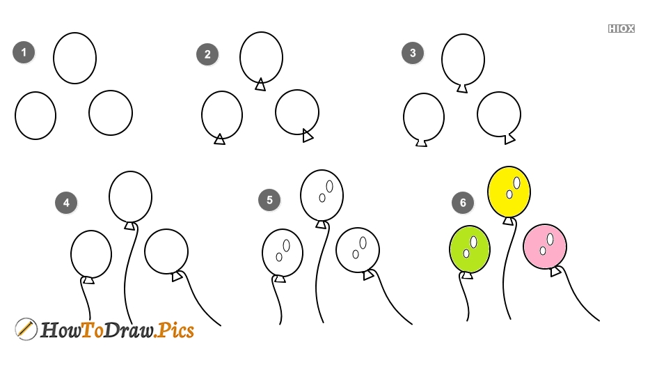 How To Draw Balloons Step By Step?