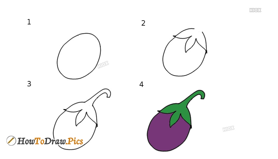 How To Draw Brinjal Step By Step Pictures