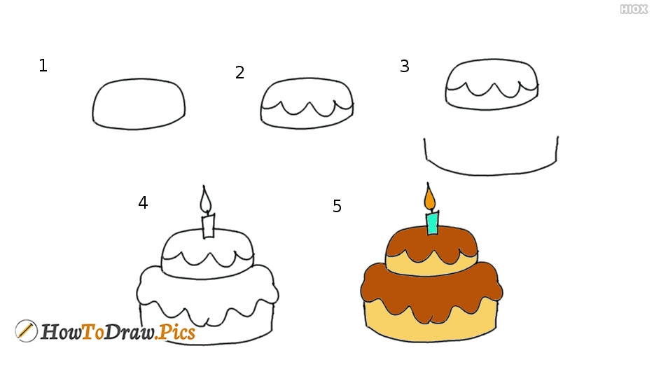 How To Draw Cake Step By Step | Step By Step Cake Drawing Images