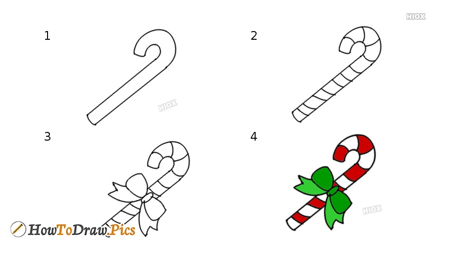 How To Draw Cartoon Candy Cane