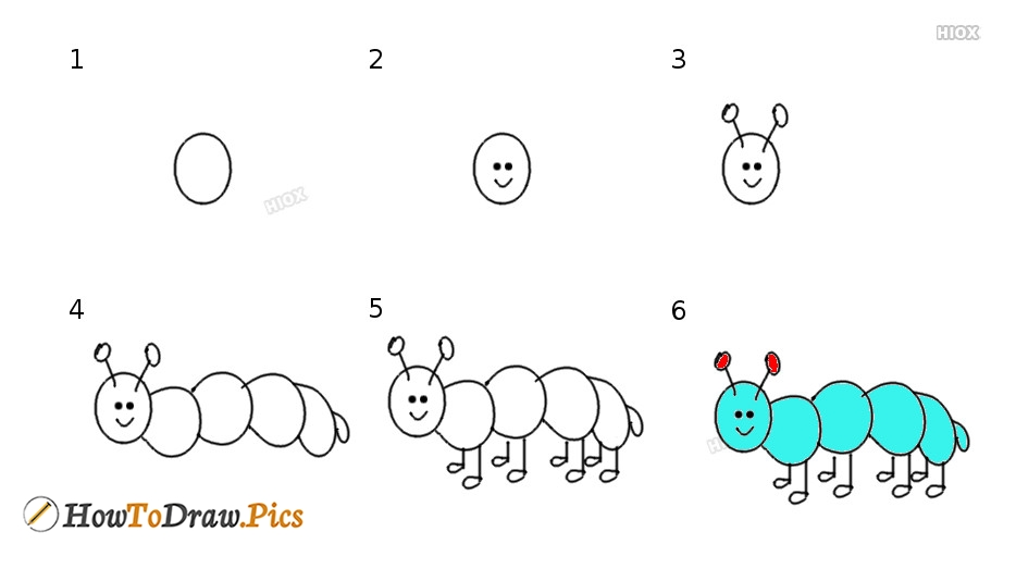 How To Draw Caterpillar
