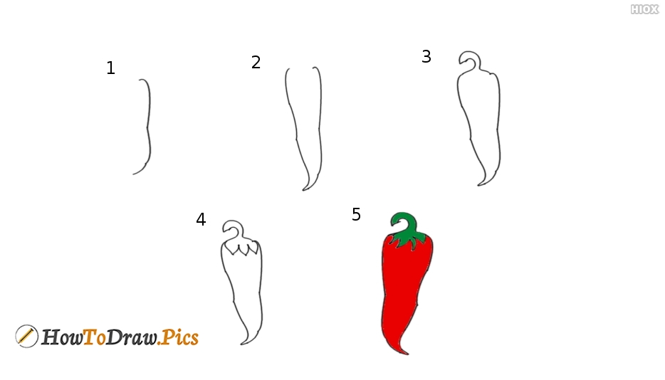 How To Draw Chili Step By Step?