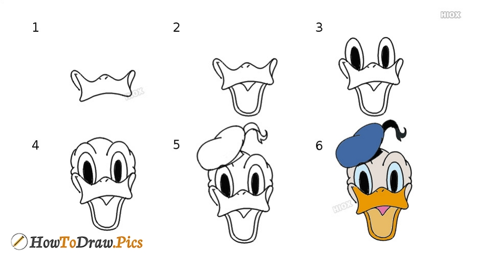 how to draw donald duck face howtodraw pics