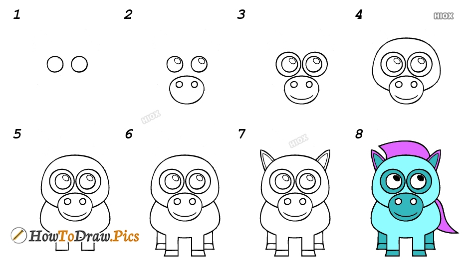 How To Draw Donkey Cartoon