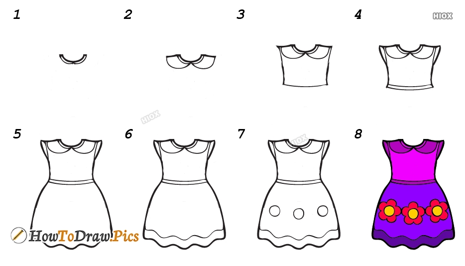 How To Draw A Frock Step By Step Images