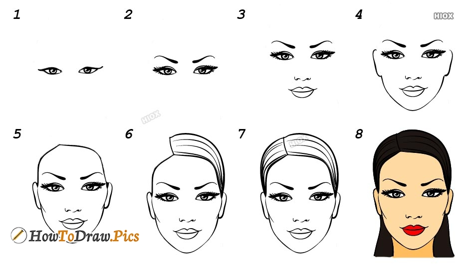 How To Draw Girl Head Step By Step Images