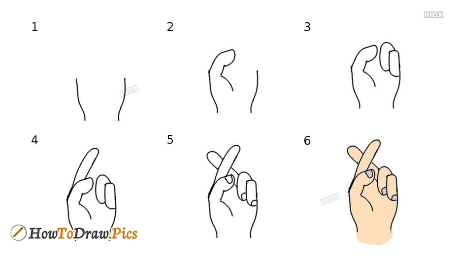 Fingers Crossed Drawing | Step By Step Drawing Tutorial