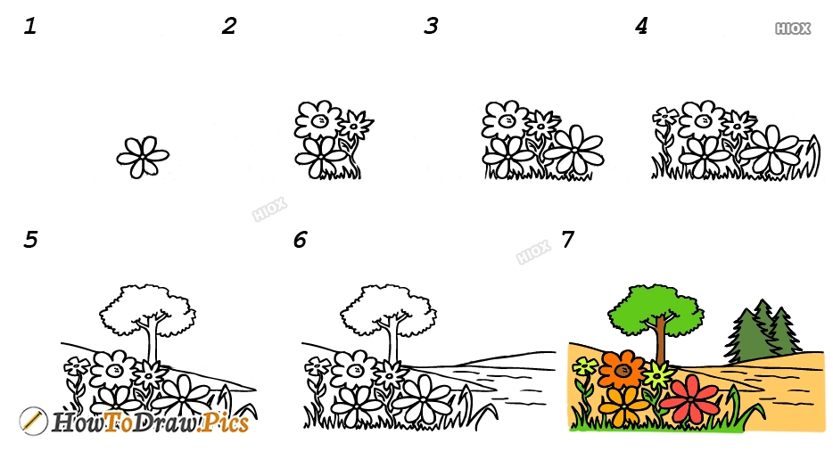 How To Draw Garden Step By Step Images